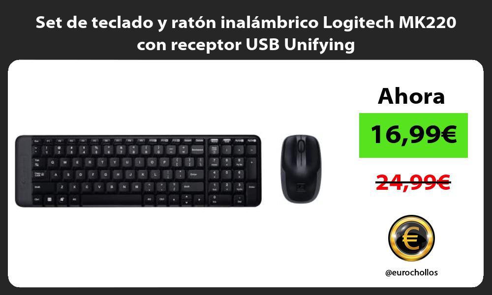 Set de teclado y ratón inalámbrico Logitech MK220 con receptor USB Unifying