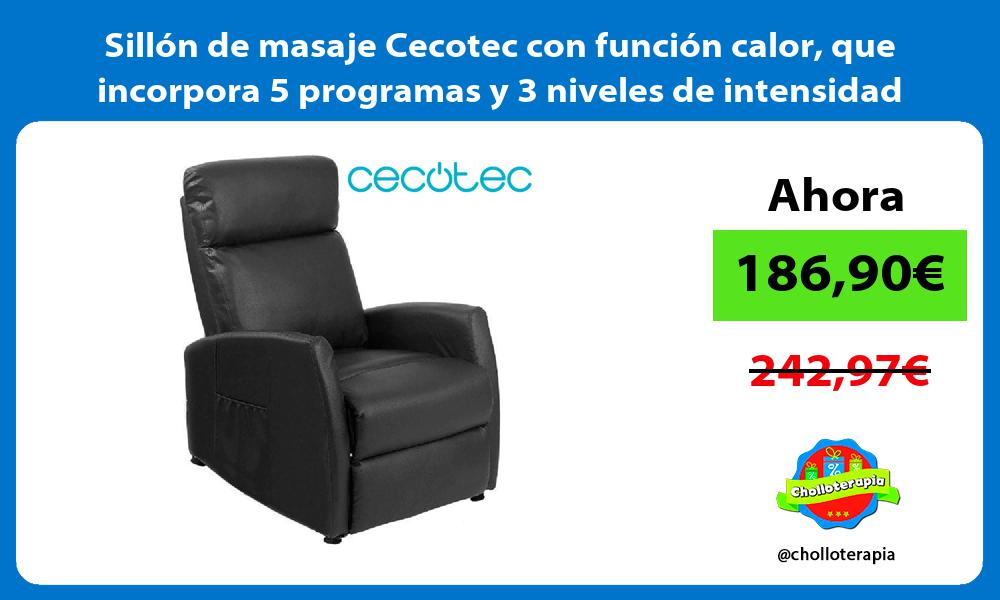 Sillón de masaje Cecotec con función calor que incorpora 5 programas y 3 niveles de intensidad