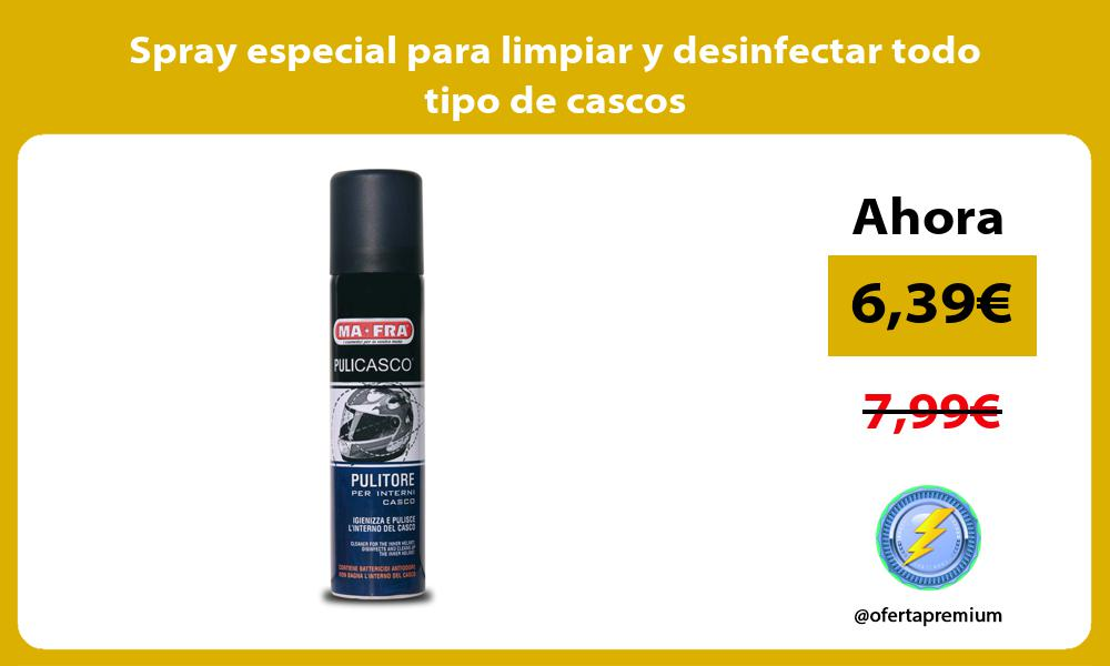 Spray especial para limpiar y desinfectar todo tipo de cascos