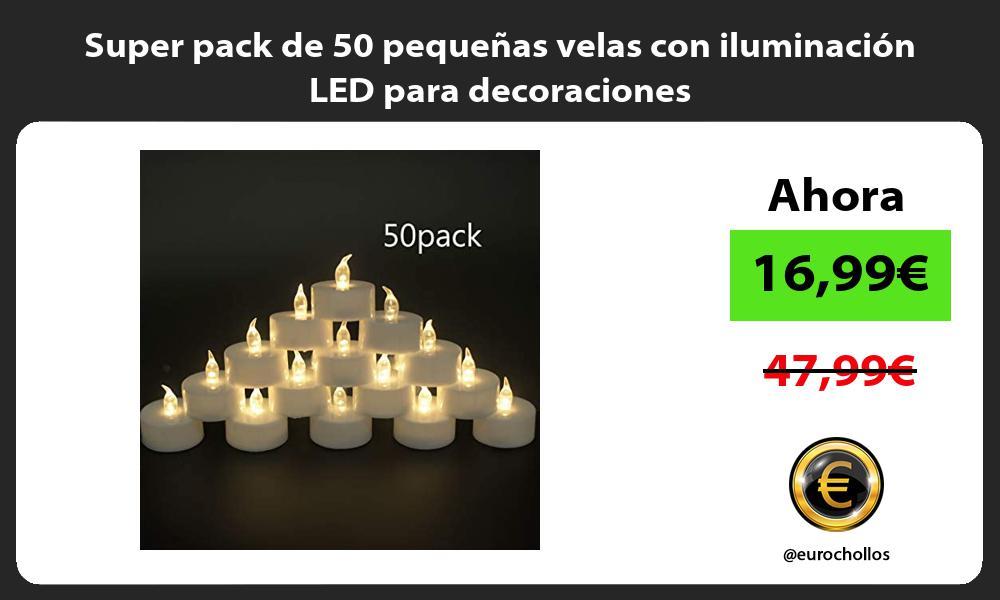 Super pack de 50 pequeñas velas con iluminación LED para decoraciones
