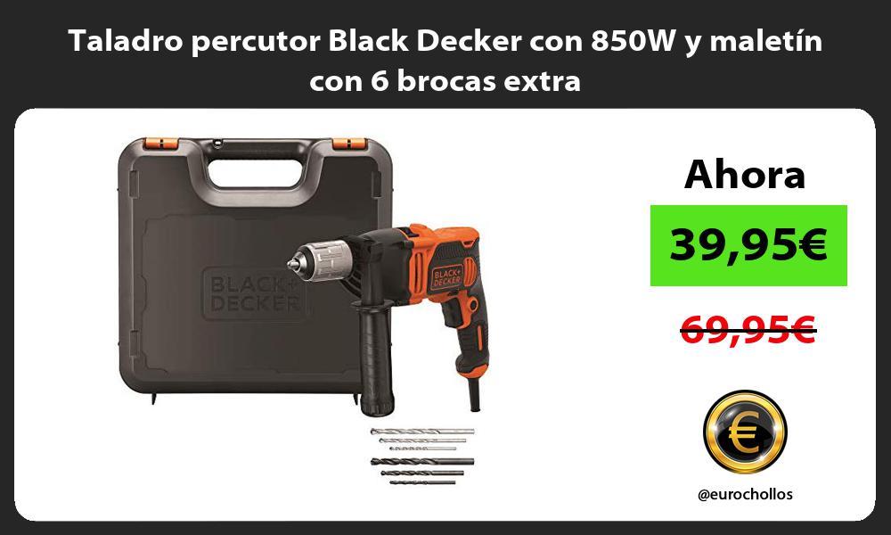 Taladro percutor Black Decker con 850W y maletín con 6 brocas extra