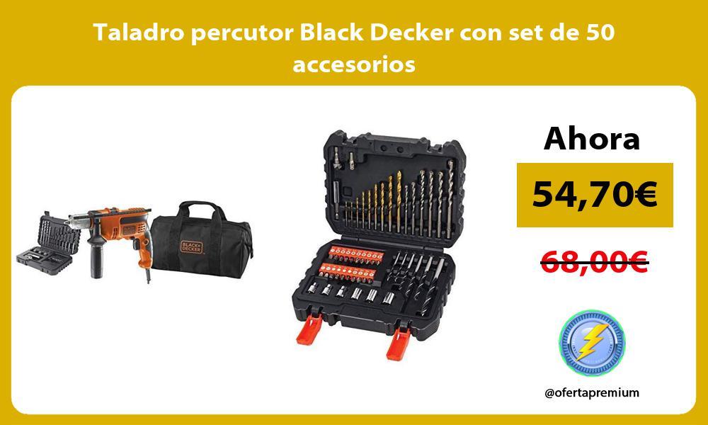 Taladro percutor Black Decker con set de 50 accesorios
