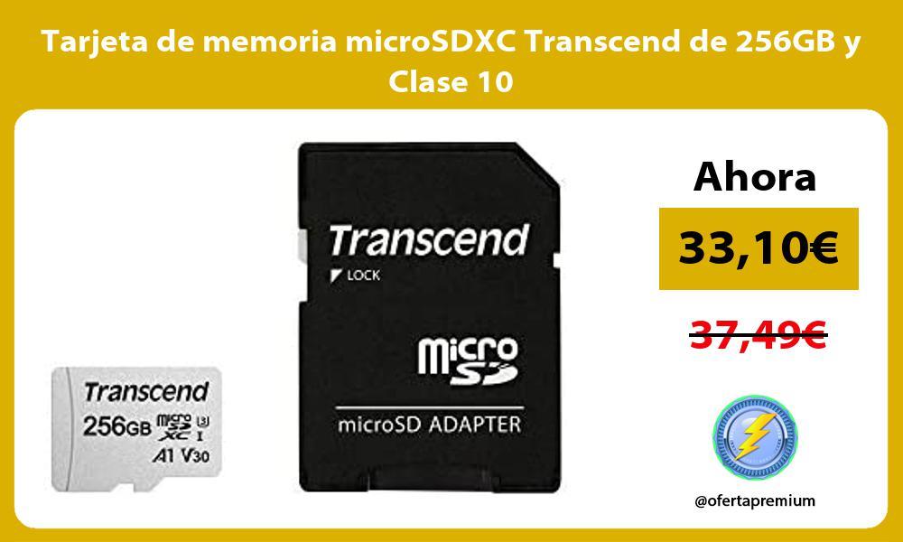 Tarjeta de memoria microSDXC Transcend de 256GB y Clase 10