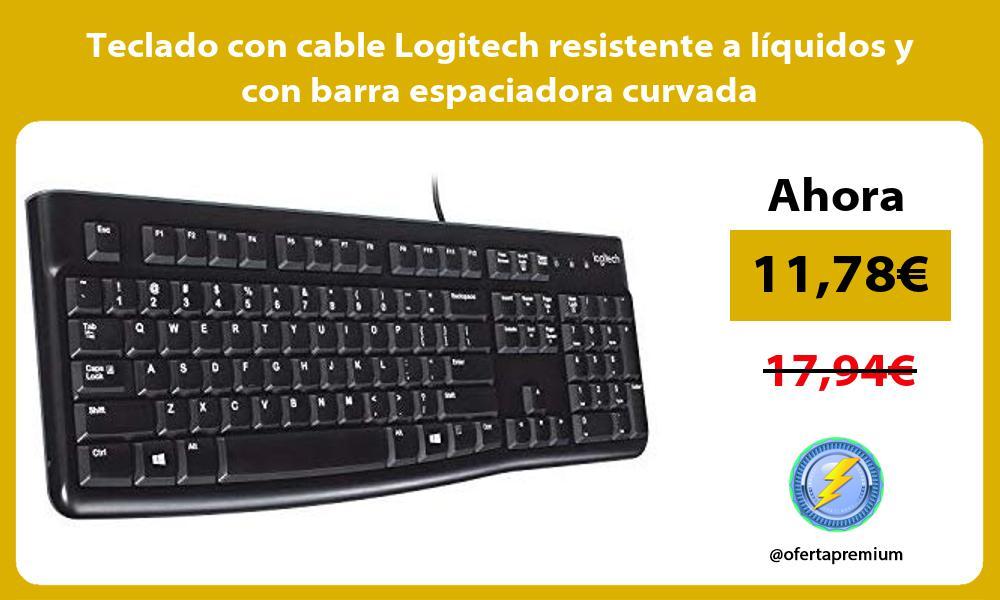 Teclado con cable Logitech resistente a líquidos y con barra espaciadora curvada