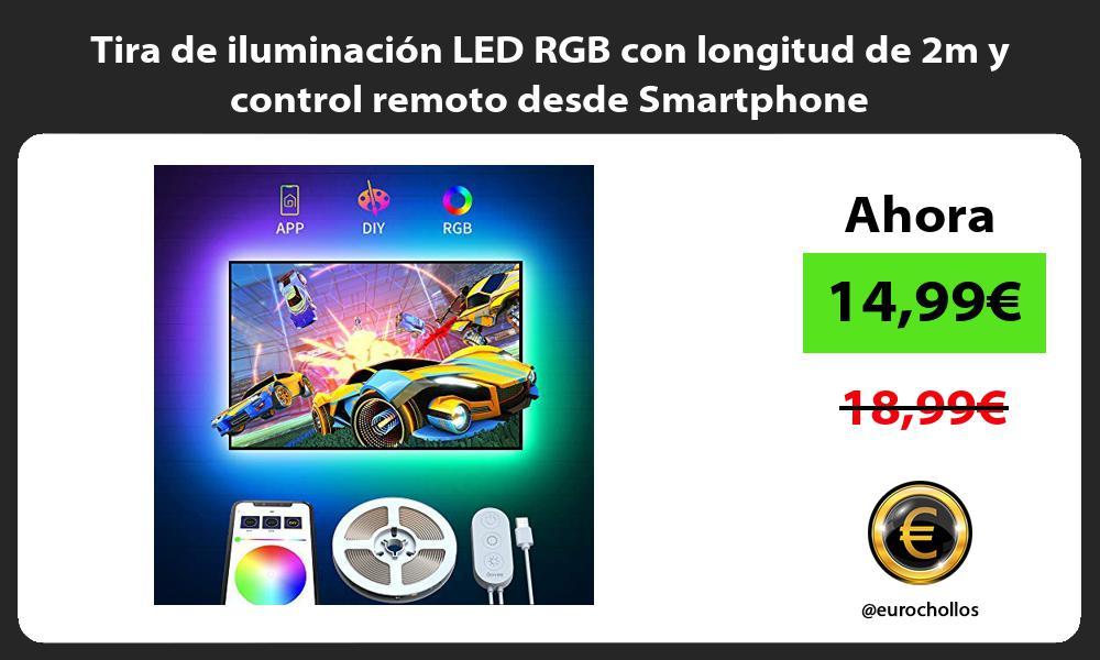 Tira de iluminación LED RGB con longitud de 2m y control remoto desde Smartphone