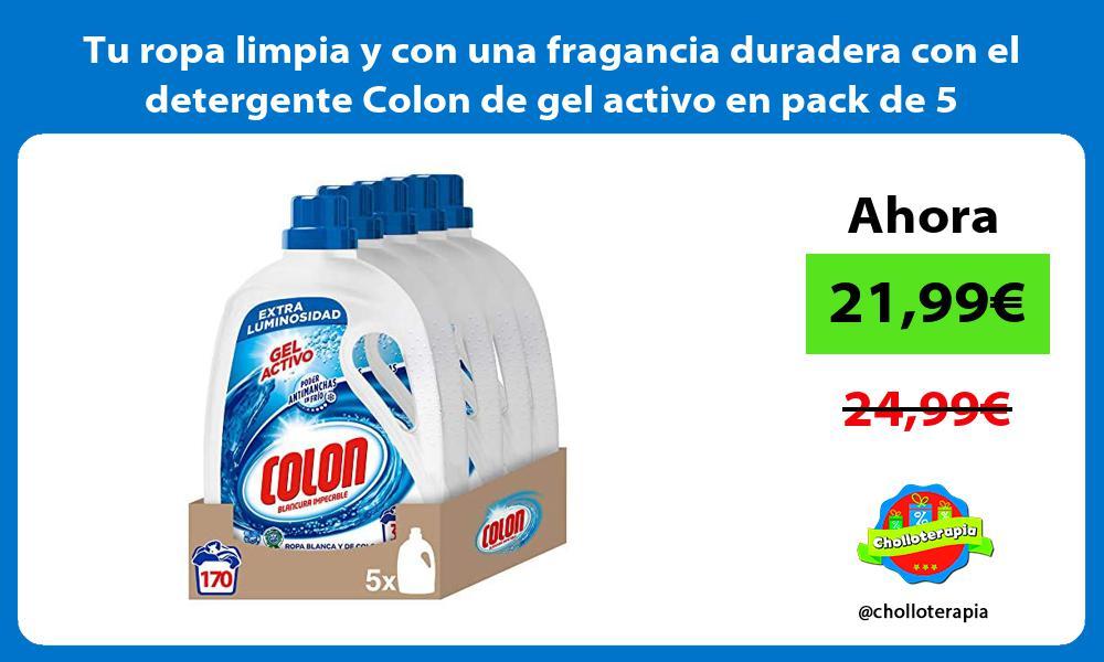 Tu ropa limpia y con una fragancia duradera con el detergente Colon de gel activo en pack de 5