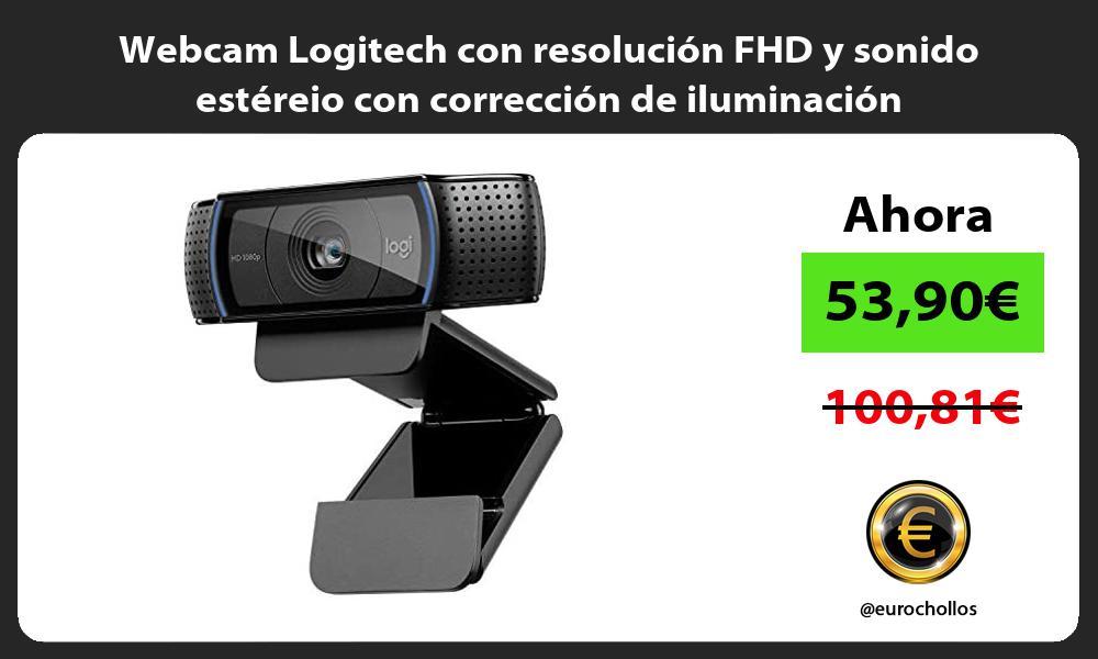Webcam Logitech con resolución FHD y sonido estéreio con corrección de iluminación