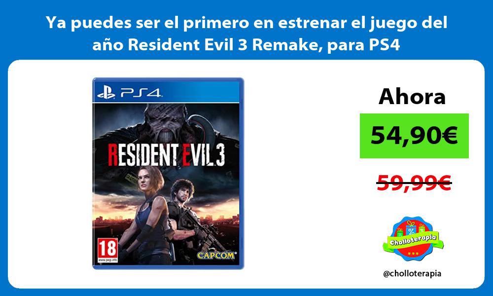 Ya puedes ser el primero en estrenar el juego del año Resident Evil 3 Remake para PS4
