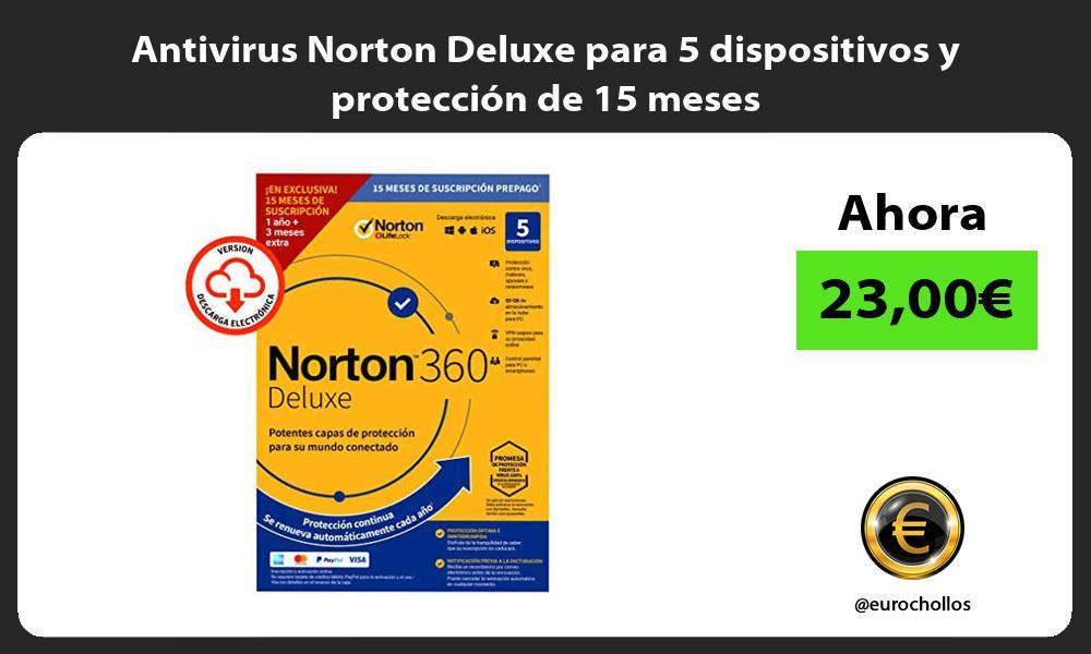 Antivirus Norton Deluxe para 5 dispositivos y protección de 15 meses