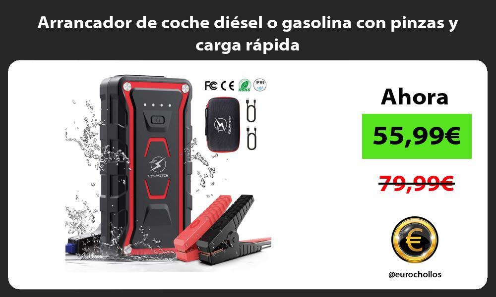 Arrancador de coche diésel o gasolina con pinzas y carga rápida