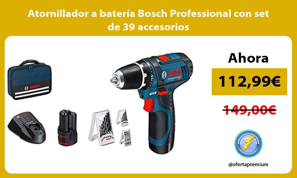 Atornillador a batería Bosch Professional con set de 39 accesorios