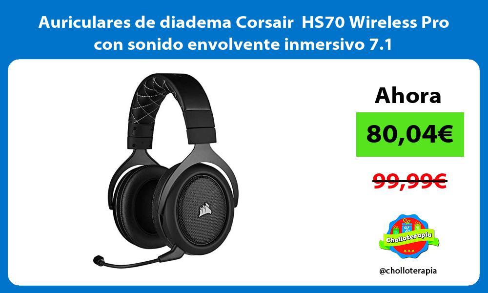 Auriculares de diadema Corsair HS70 Wireless Pro con sonido envolvente inmersivo 7 1