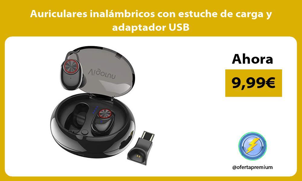 Auriculares inalámbricos con estuche de carga y adaptador USB