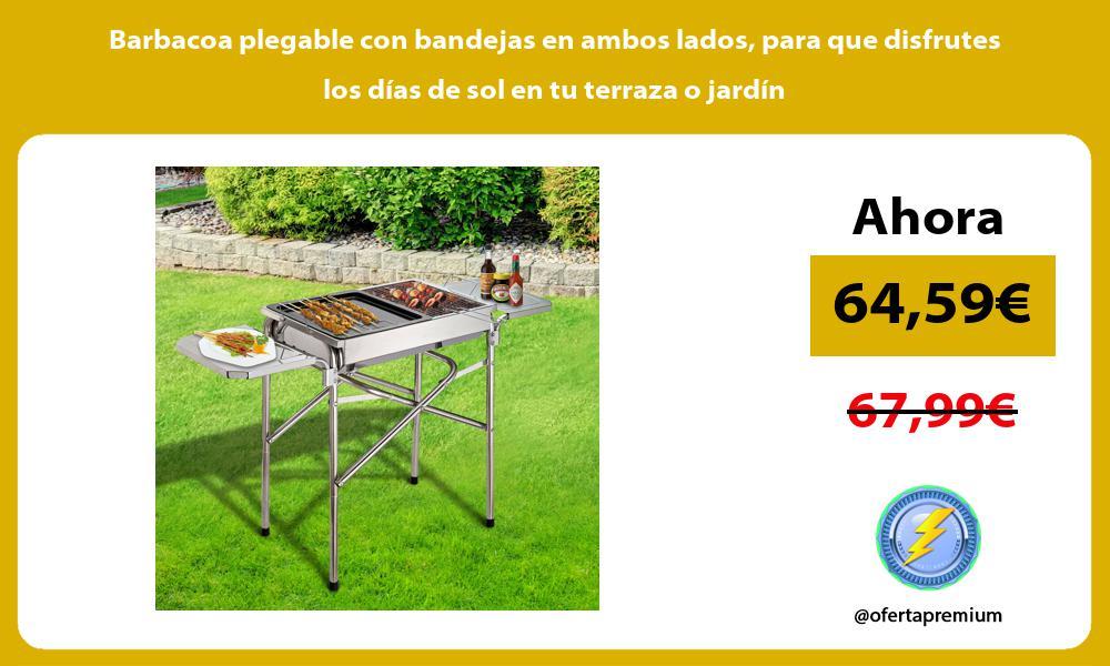 Barbacoa plegable con bandejas en ambos lados para que disfrutes los días de sol en tu terraza o jardín