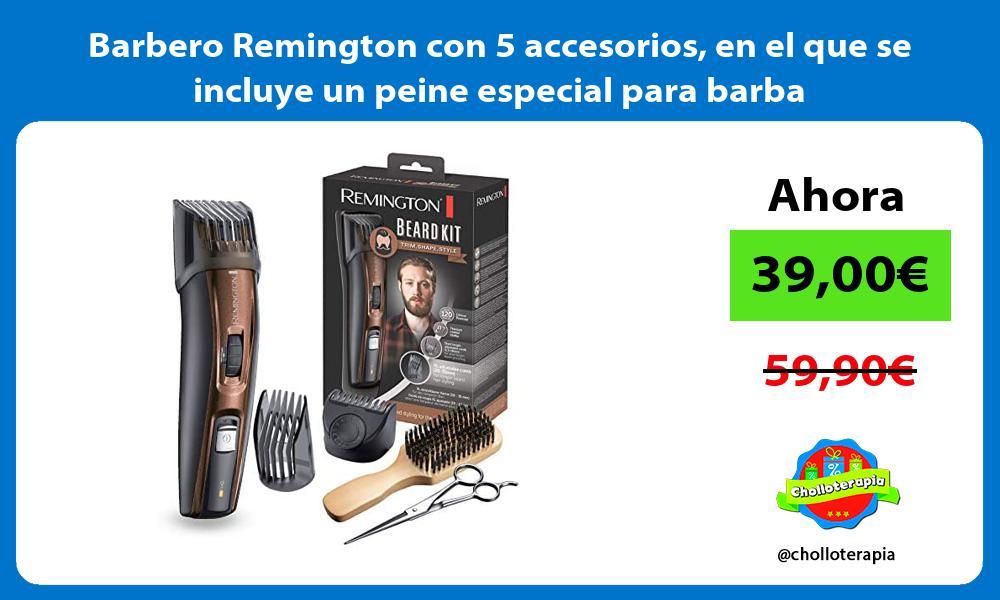 Barbero Remington con 5 accesorios en el que se incluye un peine especial para barba