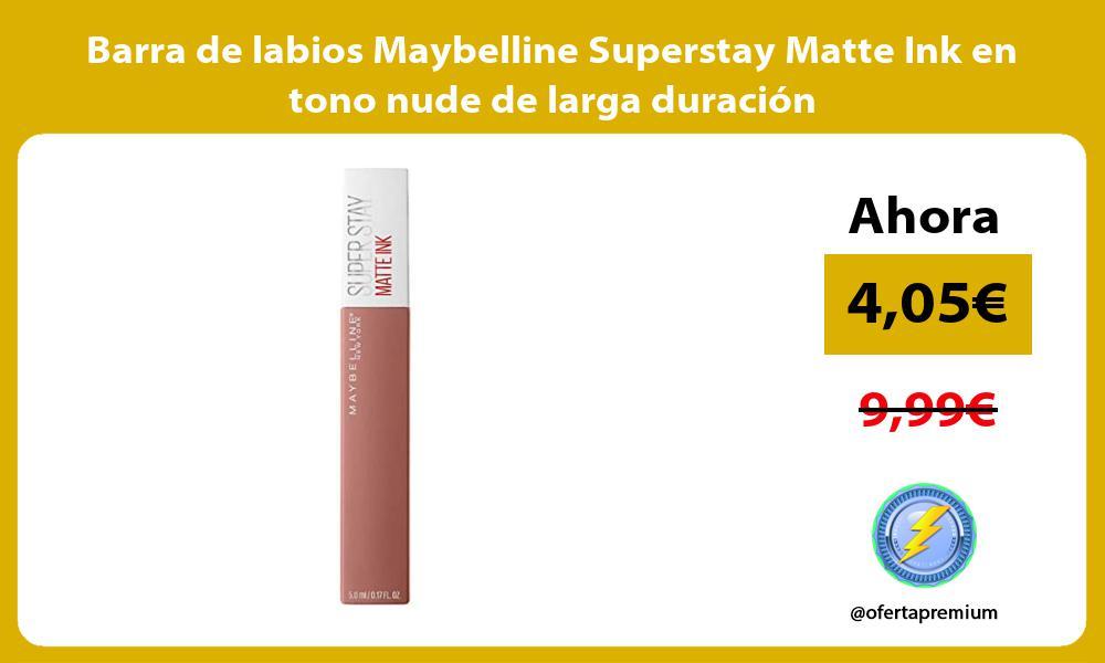 Barra de labios Maybelline Superstay Matte Ink en tono nude de larga duración