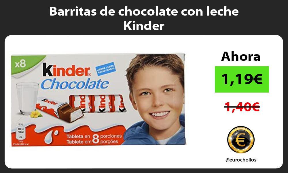 Barritas de chocolate con leche Kinder