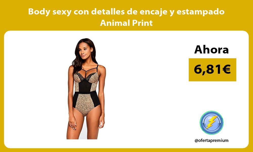 Body sexy con detalles de encaje y estampado Animal Print