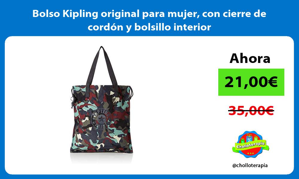 Bolso Kipling original para mujer con cierre de cordón y bolsillo interior