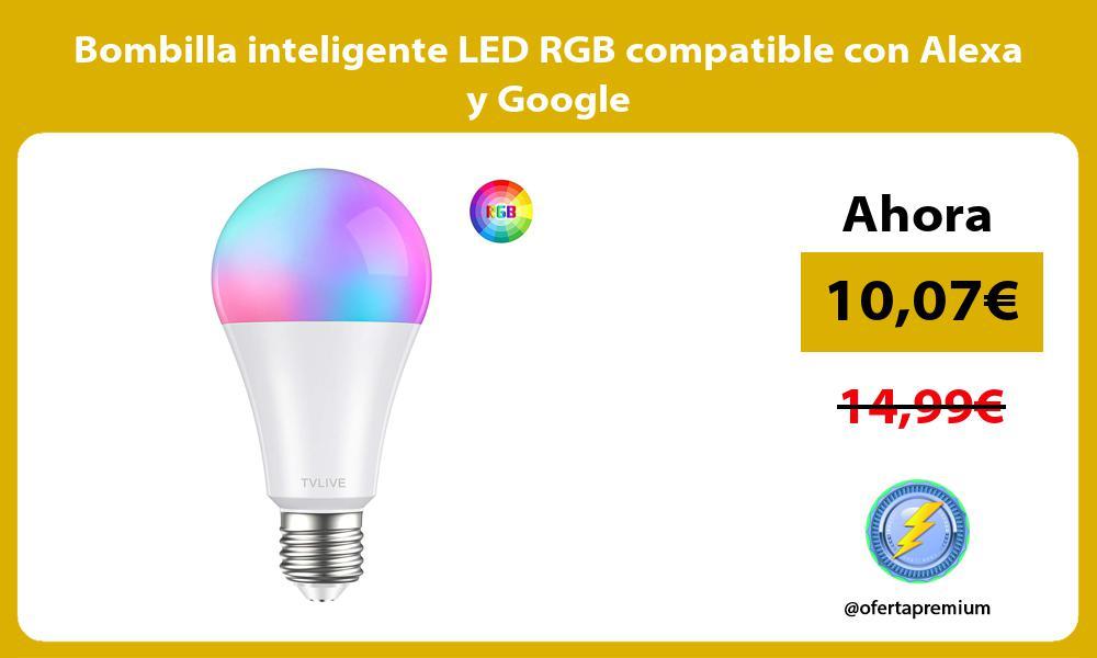 Bombilla inteligente LED RGB compatible con Alexa y Google