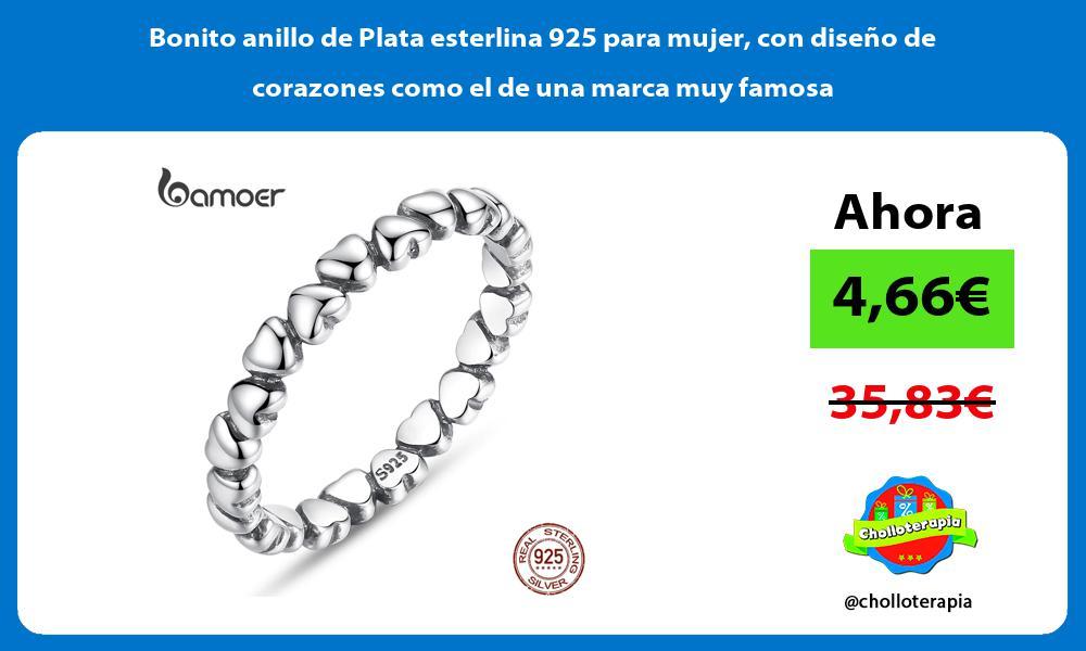 Bonito anillo de Plata esterlina 925 para mujer con diseño de corazones como el de una marca muy famosa