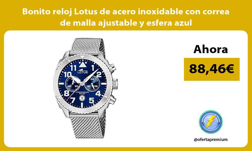 Bonito reloj Lotus de acero inoxidable con correa de malla ajustable y esfera azul