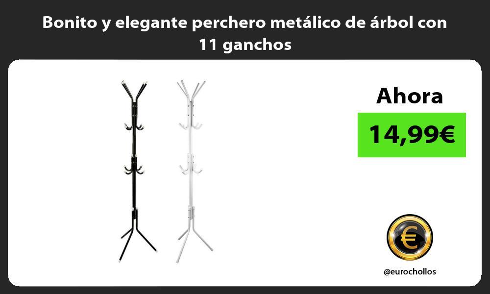 Bonito y elegante perchero metálico de árbol con 11 ganchos