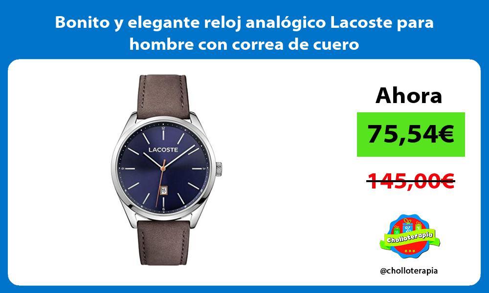 Bonito y elegante reloj analógico Lacoste para hombre con correa de cuero