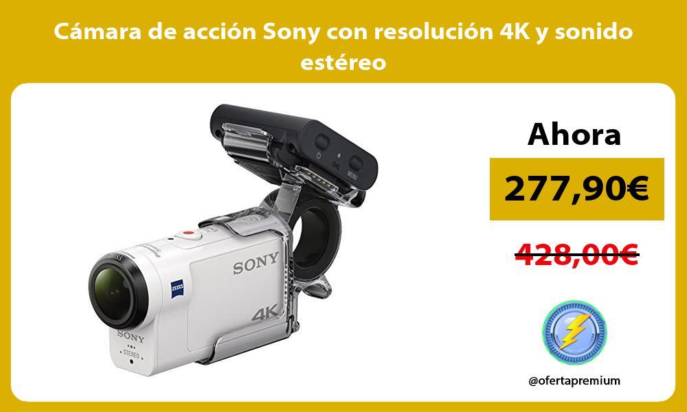 Cámara de acción Sony con resolución 4K y sonido estéreo