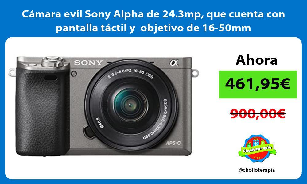 Cámara evil Sony Alpha de 24 3mp que cuenta con pantalla táctil y objetivo de 16 50mm