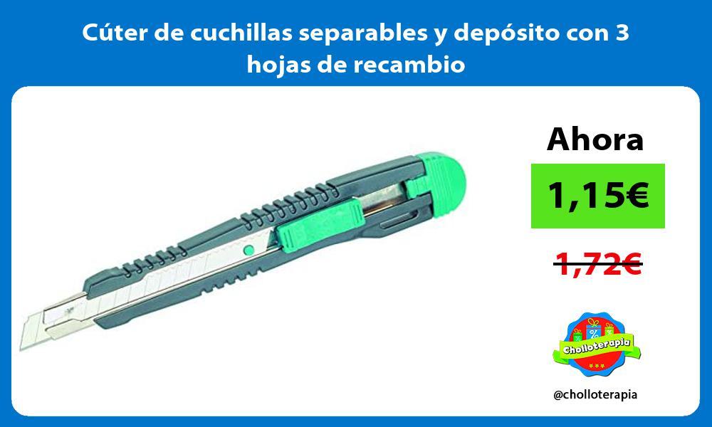 Cúter de cuchillas separables y depósito con 3 hojas de recambio