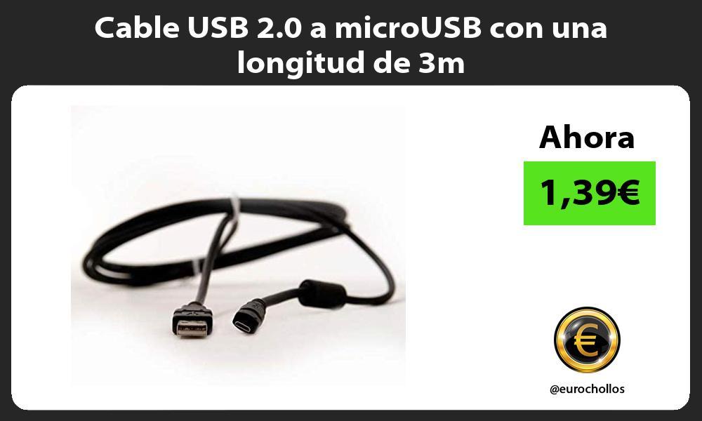 Cable USB 2 0 a microUSB con una longitud de 3m