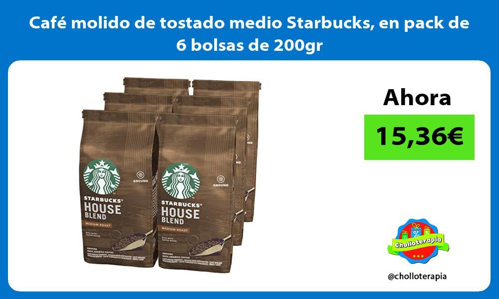 Café molido de tostado medio Starbucks en pack de 6 bolsas de 200gr