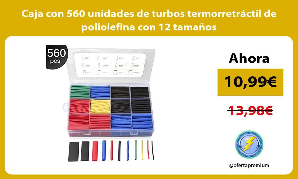 Caja con 560 unidades de turbos termorretráctil de poliolefina con 12 tamaños