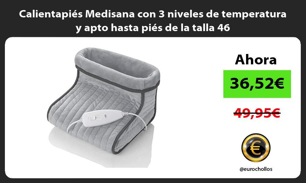 Calientapiés Medisana con 3 niveles de temperatura y apto hasta piés de la talla 46