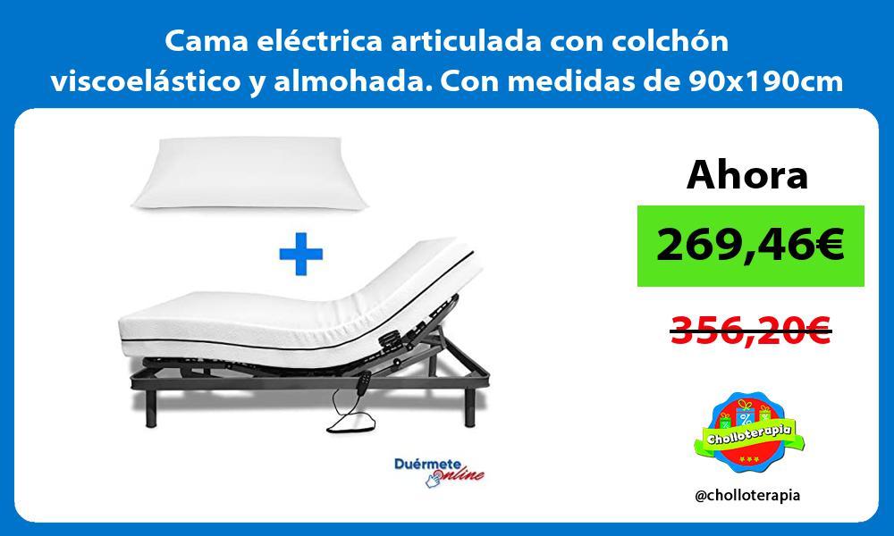 Cama eléctrica articulada con colchón viscoelástico y almohada Con medidas de 90x190cm