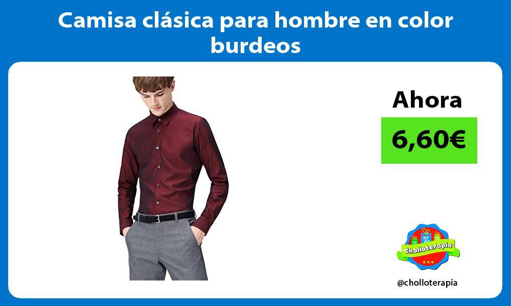 Camisa clásica para hombre en color burdeos