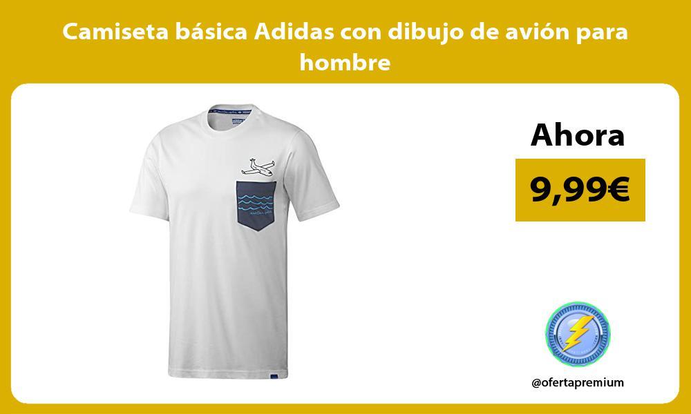 Camiseta básica Adidas con dibujo de avión para hombre