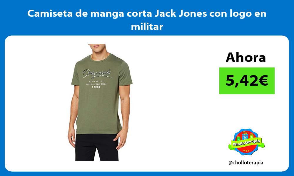 Camiseta de manga corta Jack Jones con logo en militar