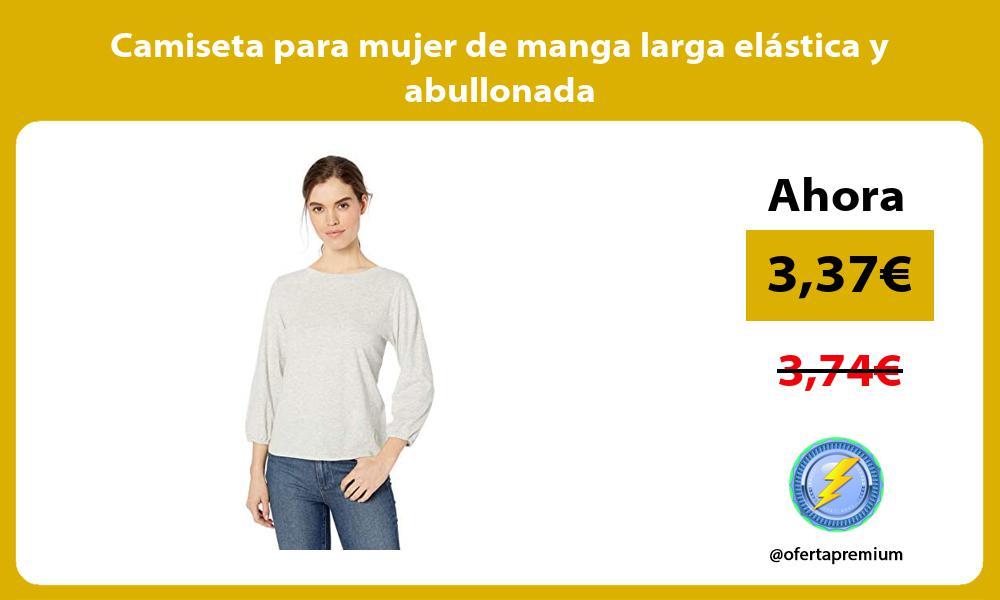 Camiseta para mujer de manga larga elástica y abullonada