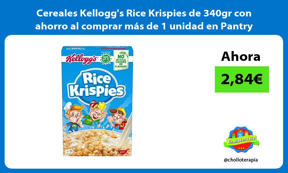 Cereales Kelloggs Rice Krispies de 340gr con ahorro al comprar más de 1 unidad en Pantry