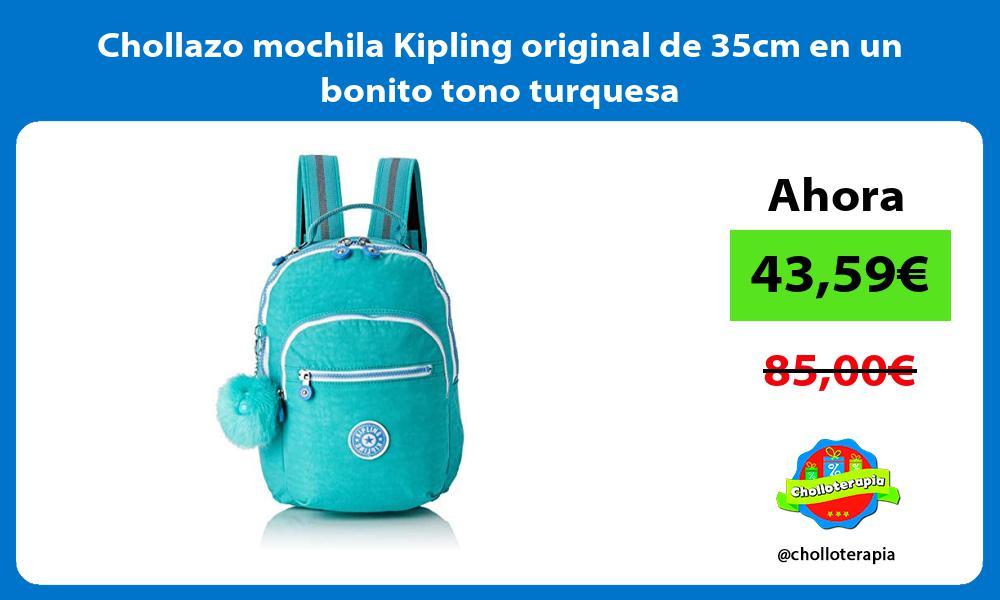 Chollazo mochila Kipling original de 35cm en un bonito tono turquesa