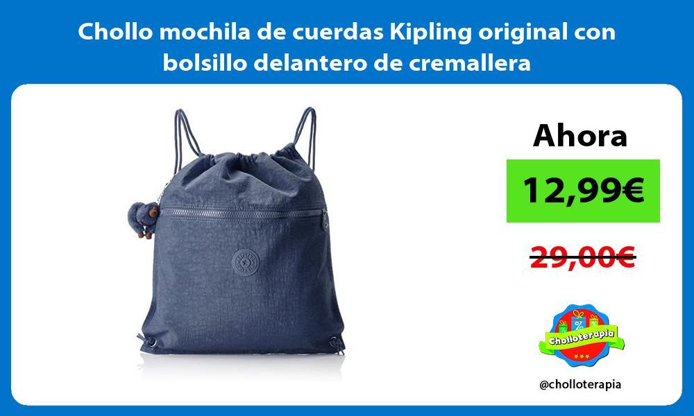 Chollo mochila de cuerdas Kipling original con bolsillo delantero de cremallera