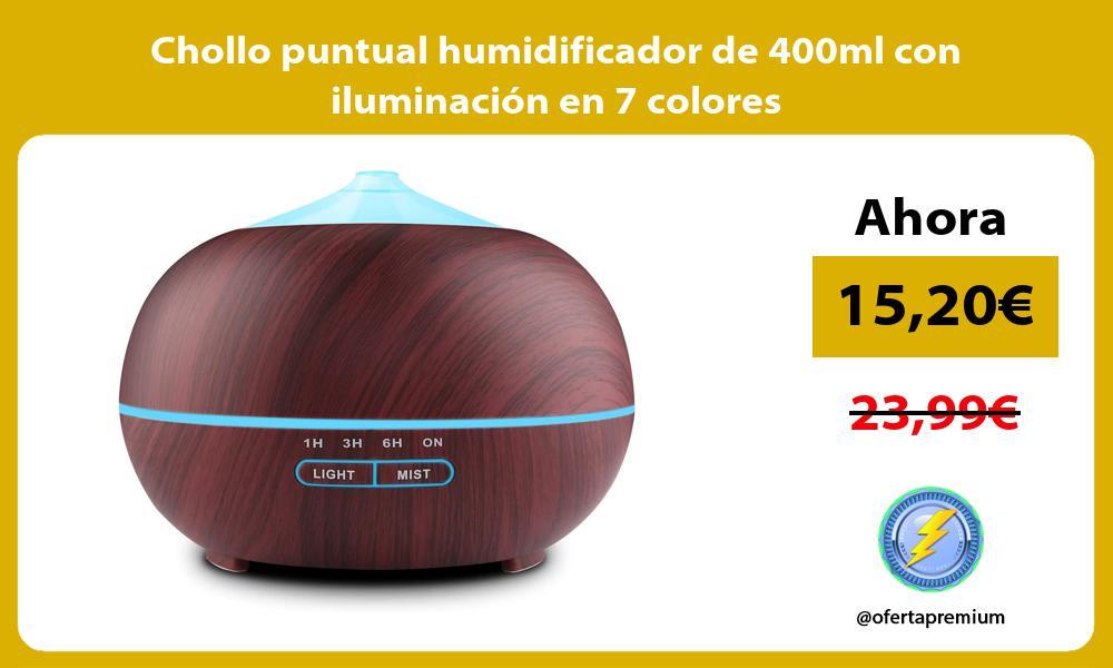 Chollo puntual humidificador de 400ml con iluminación en 7 colores