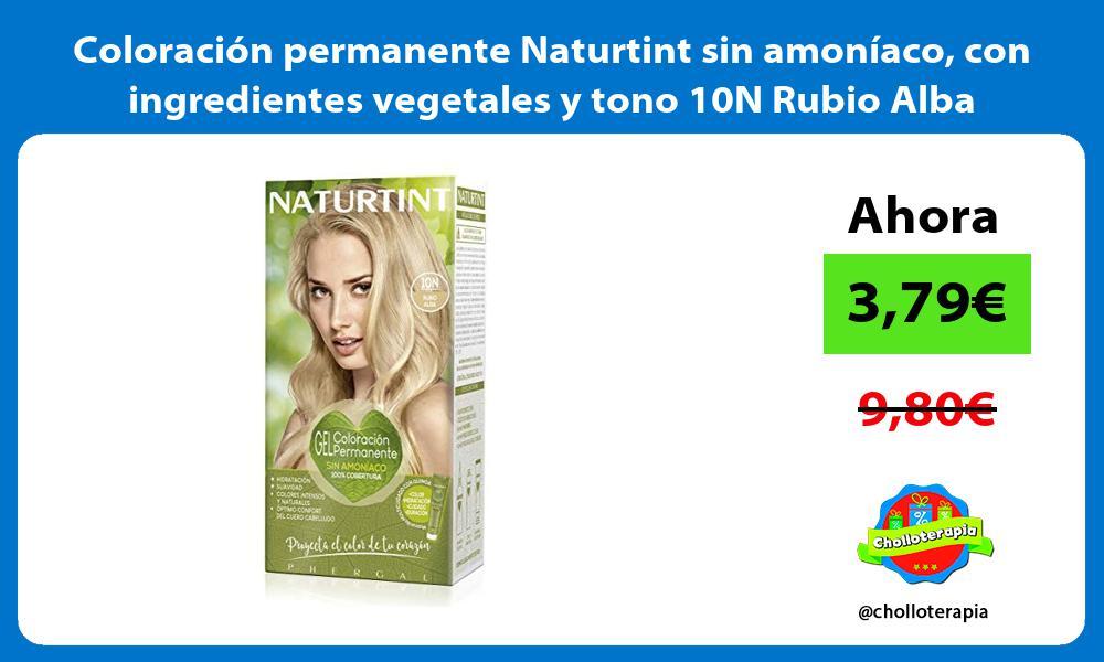 Coloración permanente Naturtint sin amoníaco con ingredientes vegetales y tono 10N Rubio Alba