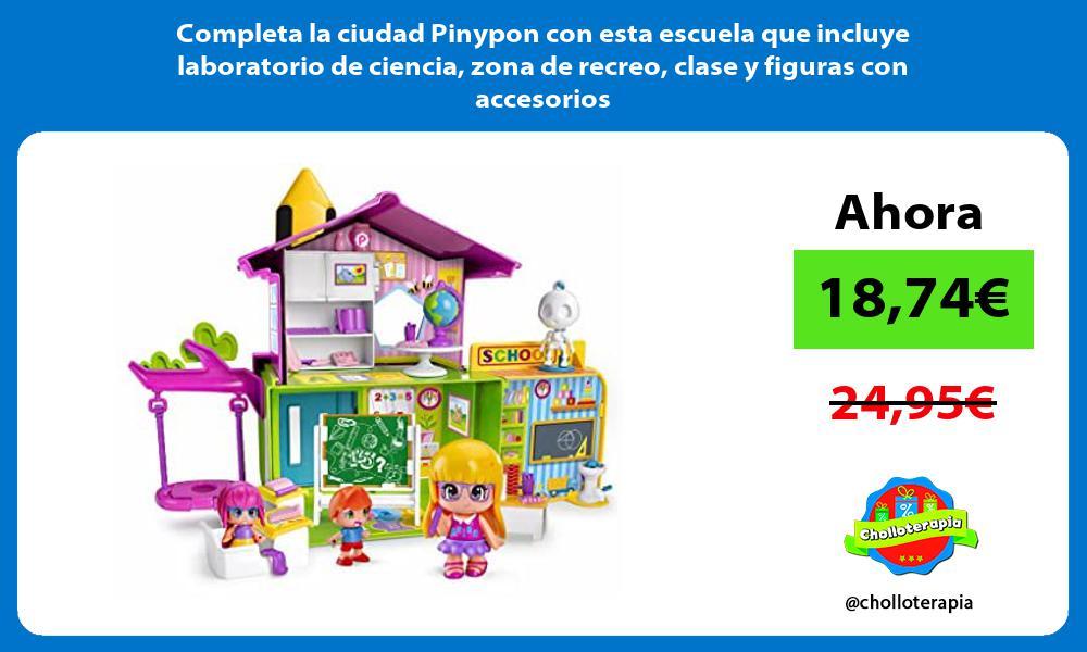 Completa la ciudad Pinypon con esta escuela que incluye laboratorio de ciencia zona de recreo clase y figuras con accesorios