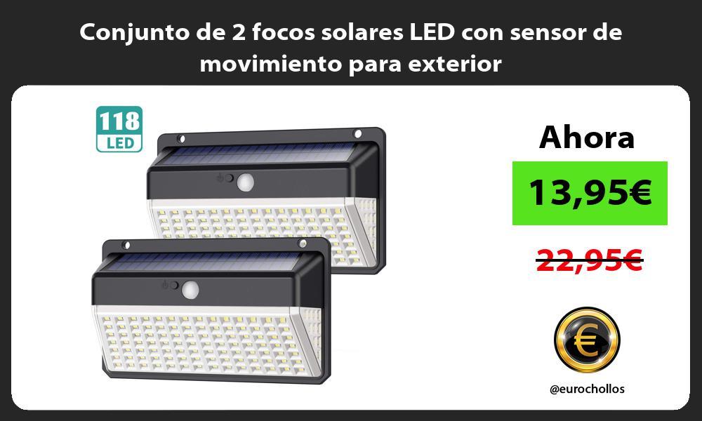 Conjunto de 2 focos solares LED con sensor de movimiento para exterior
