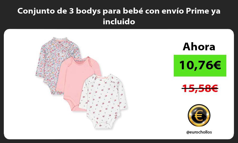 Conjunto de 3 bodys para bebé con envío Prime ya incluido