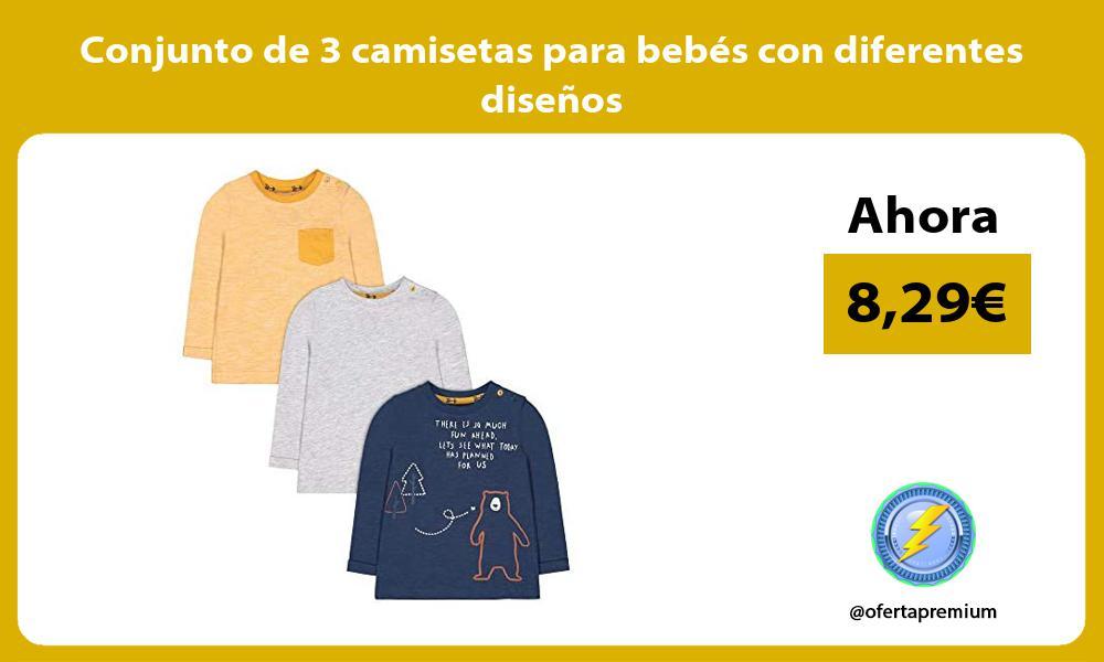 Conjunto de 3 camisetas para bebés con diferentes diseños