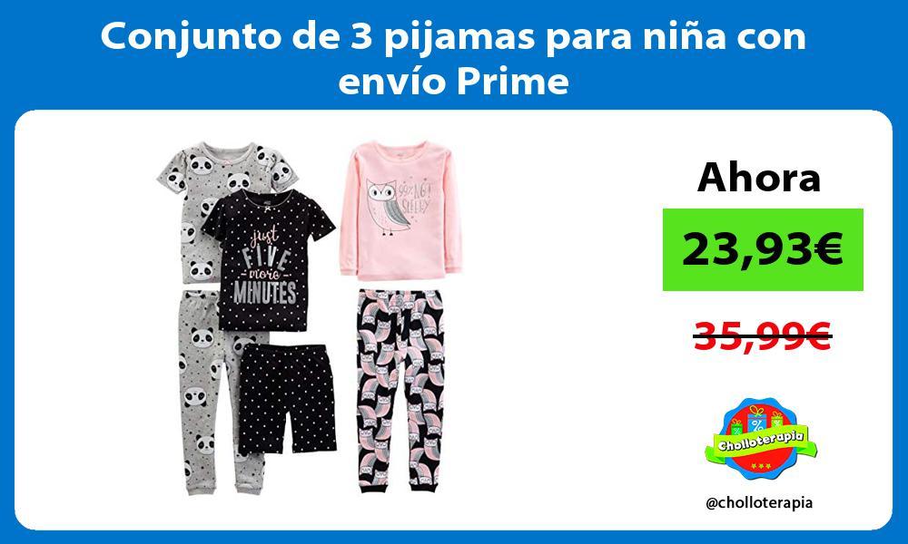 Conjunto de 3 pijamas para niña con envío Prime